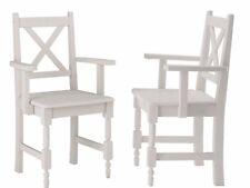 2er-Set Stühle mit Armlehne Esszimmerstuhl Küchenstuhl - Kiefer massiv weiß