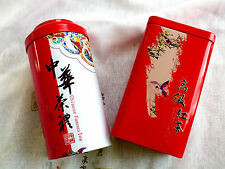 2 CHINESE RED L DRAGON BIRD STORAGE CANISTER TIN CADDY TEA BISCUIT BOX AIRTIGHT