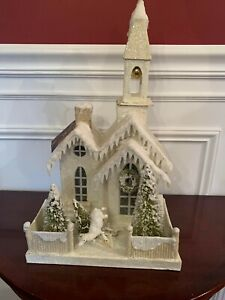 Bethany Lowe Christmas Putz Church House Ivory White Deer AS IS