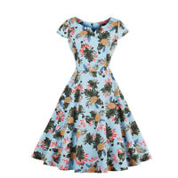 Ladies Retro Vintage 50's Rockabilly Swing Fruit Printed Party Pin Up Prom Dress
