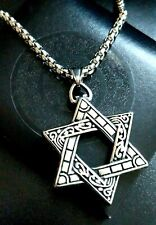 Large Jewish Star Of David Silver Stainless Steel Magen David 3D Necklace
