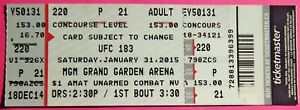 UFC ULTIMATE FIGHTING UFC 183  ORIGINAL USED TICKET MGM LAS VEGAS, JAN 31 2015