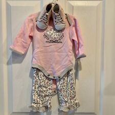 Nwt Baby Gear Infant Girls 3-6 months Pink 3 piece set (bodysuit,pants,booties)