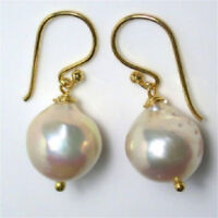 Chic teardrop gorgeous HUGE party 13-17mm south sea white baroque pearl earring