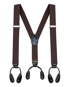 """Buyless Fashion Button Suspenders for Men 48"""" Adjustable Straps 1 1/4"""" Y Shape"""
