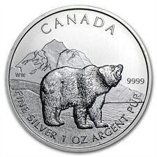 Grizzly Bär Bear 1 oz 999 Silbermünze Silber Maple Leaf Kanada Wildlife 2011 NEU