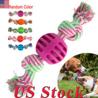 US Pet Cotton Rope With Double Knot Ends TPR Balls Durable Dog Puppy Chew Toys