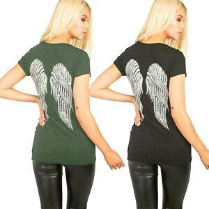 Ladies Sequin Angel Wings short sleeve t shirt top Women's Fashion Tee Tops New