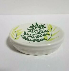 Vintage Beige Ceramic Soap Dish Hollow Leaf Patterns On Top Nature Green Yellow