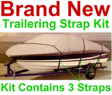 Boat Cover Tie Down Strap Kit,3 Straps and Buckles,New,Universal Trailer Fit