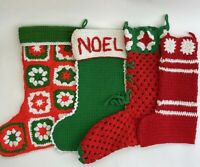 HANDMADE Lot of 4 Crocheted Granny Square Etc Christmas Stockings Vintage