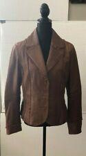Womens Sz L Bagatelle 100% Genuine Leather Brown Jacket Snap Up Coat, Excellent