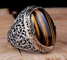 Turkish Handmade 925 sterling silver tigers eye Men's Ring Sz 10 us Free Resize