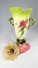 "HULL VASE Woodland W18- 10 1/2"" Signed 1950's Vase Pink Flower. Made in  USA EVC"