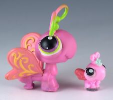 Littlest Pet Shop Butterfly #413 Pink With Purple and Green Eyes + Tiny Teensies
