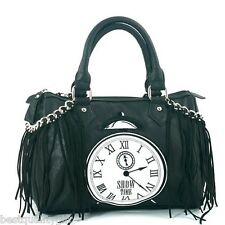 NEW BLACK+WHITE EMBROIDERED CLOCK LEATHERETTE+CHAIN TASSELS HAND BAG,PURSE