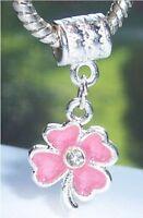 Pink Four Leaf Clover Flower Enamel Dangle Charm for European Bead Bracelets