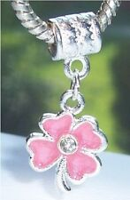 Pale Pink 4 Four Leaf Clover Dangle Bead for Silver European Charm Bracelets