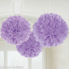 3 Classic Lilac Birthday Party Hanging Fluffy Tissue Paper Ball Decorations