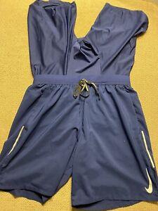 Men's Nike Blue 2 In 1 Compression Running Shorts Medium M Aj7784-492