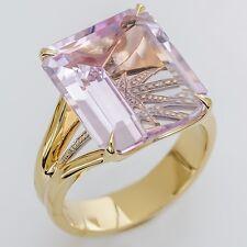 New H. Stern 12.69ct Amethyst Ring .01ct Diamonds 18k Yellow Gold Size 8.25