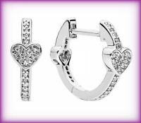 Genuine PANDORA ALLURING HEARTS HOOP EARRINGS Silver S925 ALE 297290CZ RRP £50