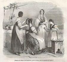 A5259 Donne di Mola e Castellone - Xilografia Antica del 1842 - Engraving