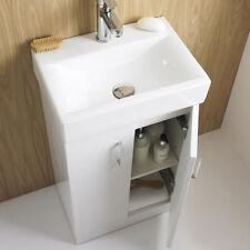 450 Square Bathroom Cabinet Gloss White Vanity Unit Basin Ceramic Sink Cloakroom