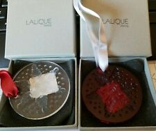 NEW in Box Lalique Crystal 2013 Snowflake Ornament Red or Clear
