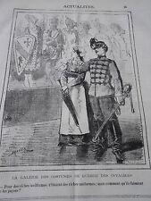 Caricature 1877  La Galerie des costumes de Gueere des Invalides Unifromes
