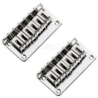 2 Chrome 6 Saddle Hardtail Bridge Top Load 78 mm Hard Tail Electric Guitar Parts