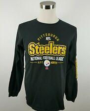 NFL Team Apparel Pittsburgh Steelers Mens LS Crew Neck Black T Shirt Large