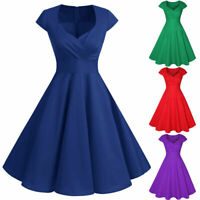 Women Vintage Cap Sleeve 50s Rockabilly Pinup Swing Party Cocktail Retro Dresses