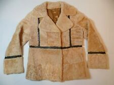 Vintage Circa 1960's Handmade Shearling Leather Trim Jacket Coat  Womens Small