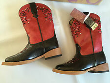 BNWT Little Girls Sz UK 8 US 9 Roper Red and Black Glitter Studded Western Boots