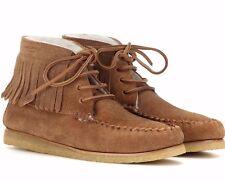 NIB SAINT LAURENT SHEARLING FUR Lined Fringe Moccasins Winter Shoes 39.5 US-9.5