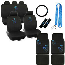 New Love Blue Hearts Car Front Back Seat Covers Floor Mats Lanyard Keychain Set