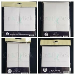Craftstyle gate fold cards and envelopes - packs of 10 - C6, 6x6, C5, 8x8
