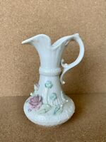 "Vintage Irish 9"" Belleek Aberdeen Vase Pitcher Ewer Applied Flowers Green Mark"