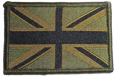 UNION JACK CLOTH PATCH Great Britain velcro flag badge Team GB army olive green