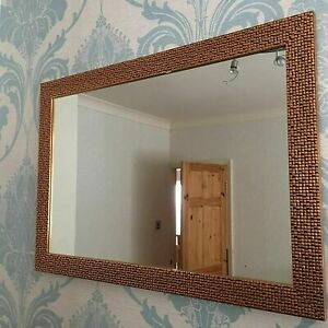 New Large Mosaic Mirror Bedroom Hallway Hanging Wall Gift 48x68cm copper white