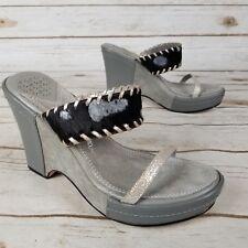 Sam Edelman Black Gray  Animal Print Cowhide Suede High Heel Wedge Size 7.5
