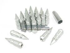 NNR Steel Extended Spline Wheel Lug Nuts w/ Spike 78mm Matte Silver 12x1.5 20pcs