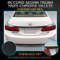 Fit 13-15 Accord Sedan Trunk Overlay Chrome Delete Blackout Kit - Matte Black