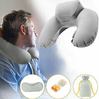 Inflatable Travel Pillow Head Neck Rest Cushion With Velour Cover Sleep Mask Kit