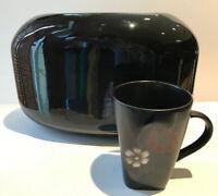 "Vintage Japanese Ikebana Vase Modernist Lg Opening Black Glossy Pottery 8"" X 12"""