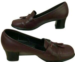 Etienne Aigner Burgundy Tassel Loafer Shoes Sz 6 Stack Block Heel Leather Upper