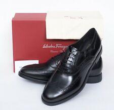 NIB Salvatore Ferragamo Sinesio Black Leather Wing-Tip Brogue Oxford Shoes 11 D