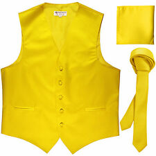 """New Men's yellow vest Tuxedo Waistcoat_1.5"""" necktie & hankie set wedding"""
