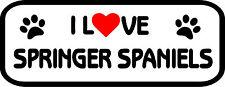 I Love Springer Spaniels Car, Van sticker, decal paw print